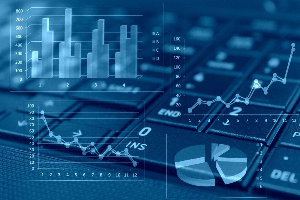 Ícones e gráficos de BI para imobiliária.